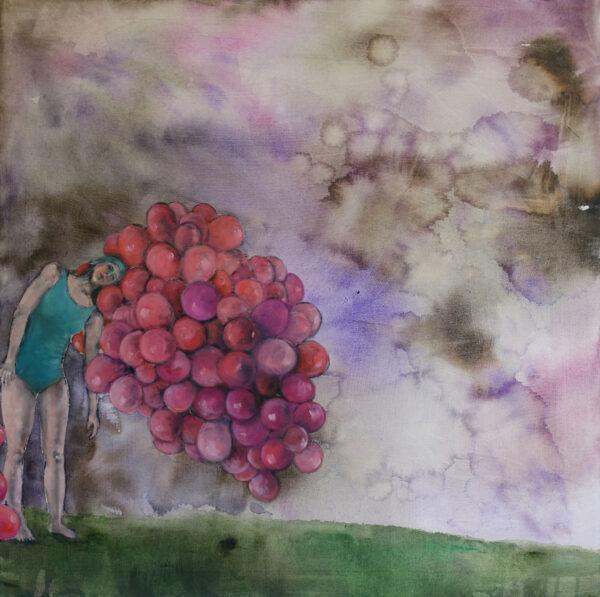 Isabel Friedrich, Hatest du Gefragt, 2020, Indian Ink, Oil on Canvas, 90 x 90 cm