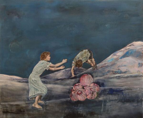 Isabel Friedrich, Höchstens, 2020, Indian Ink, Oil on Canvas, 100 x 120 cm