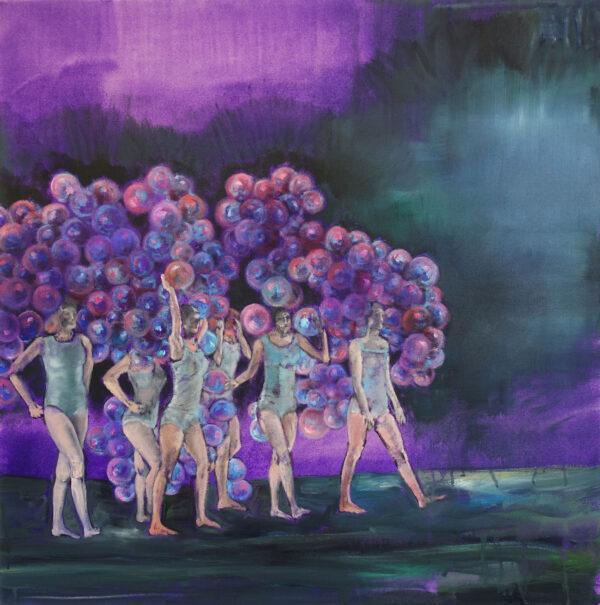 Isabel Friedrich,Ich Möchte So Gerne Duschen , 2020, Indian Ink, Oil on Canvas, 70 x 70 cm
