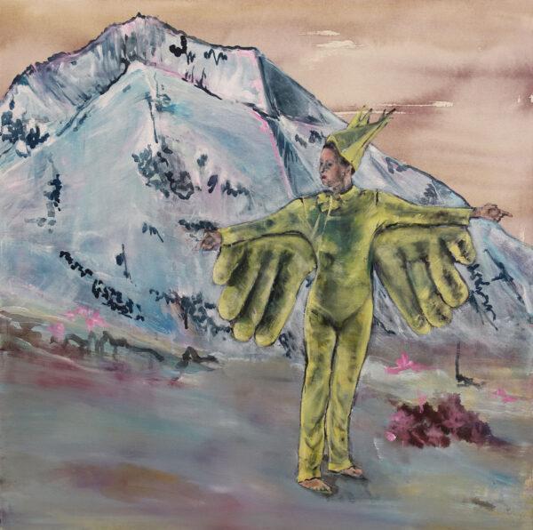 Isabel Friedrich, Kein Blick Nach Links, 2020, Indian Ink, Oil on Canvas, 70 x 70 cm