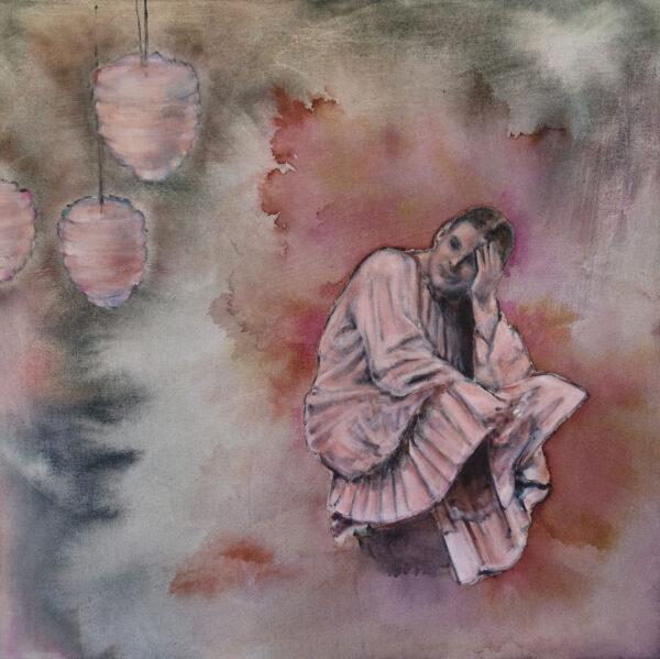Isabel Friedrich, Kein Vorher, Kein Dahinter, 2020, Indian Ink, Oil on Canvas, 70 x 70 cm