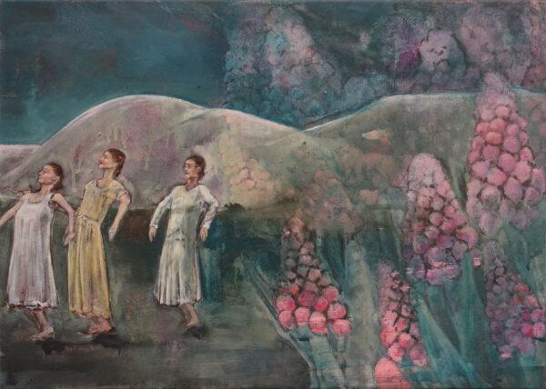 Isabel Friedrich, Kleine Schritte, 2019, Indian Ink, Oil on Canvas, 49 x 69 cm