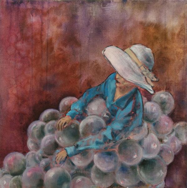 Isabel Friedrich, Nicht zu Hurtig, 2020, Indian Ink, Oil on Canvas, 50 x 50 cm