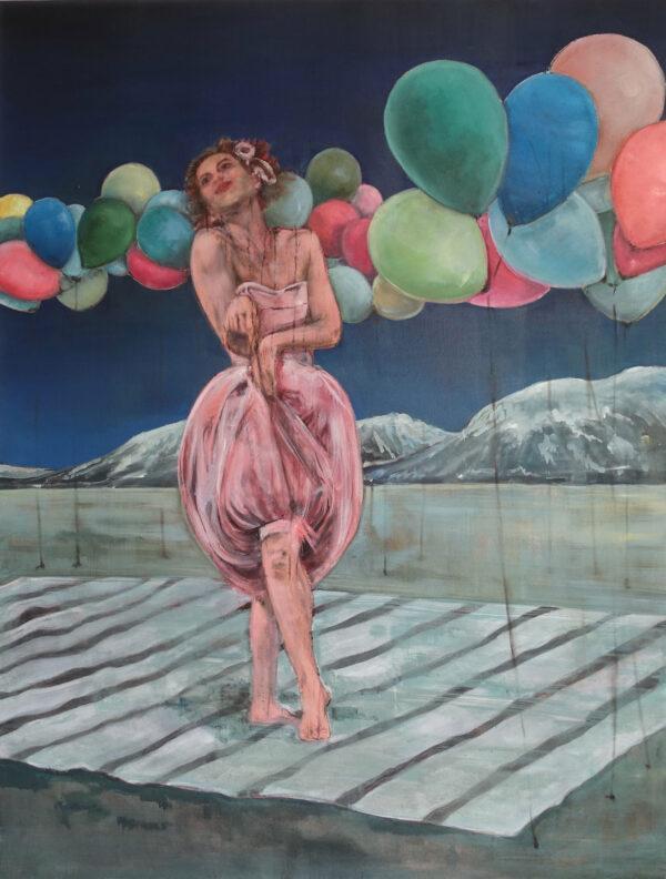 Isabel Friedrich,Tief in der Nachfrage, 2020, Indian Ink, Oil on Canvas, 90 x 118 cm