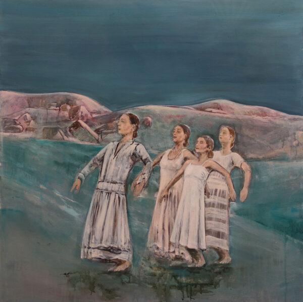 Isabel Friedrich, Wir Brauchen Keine Leiter, 2019, Indian Ink, Oil on Canvas, 90 x 90 cm